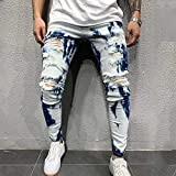 Pantalones Jeans Vaqueros Autumn Jeans Men New European-Size Tie Dye Men's Printed Irregular Wash Ripped and Slim-Fitting S White