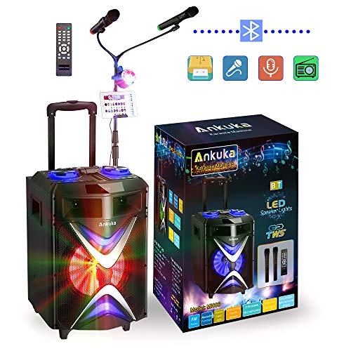 Portable Bluetooth Karaoke Machine, Ankuka Wireless PA Speaker Sound System with USB Disco Lights, 2 Microphones and Adjustable Microphone Stand