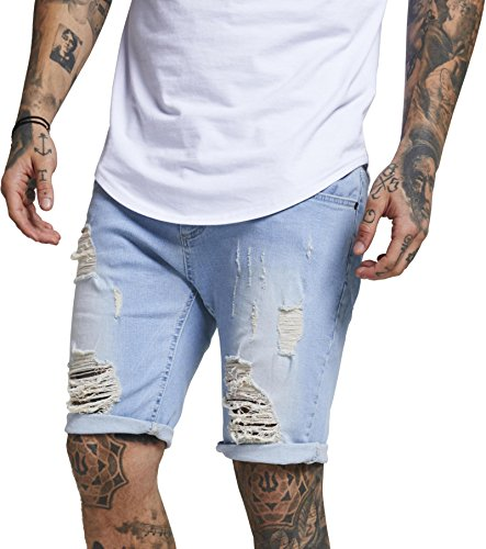 Sik Silk Herren Jeans Short Distressed Skinny Shorts SS-13008 Light Wash, Größe:XS