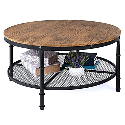 Best Choice Products 2-Tier 35.5in Round Industrial Coffee Table, Rustic Steel Accent Table for Living Room, w/Wooden Tabletop, Reinforced Crossbars, Padded Feet, Open Shelf, Raised Bottom - Brown