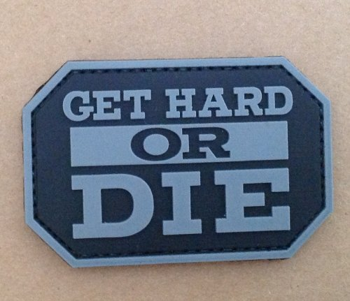 Get Hard Or Die Airsoft PVC Patch Noir