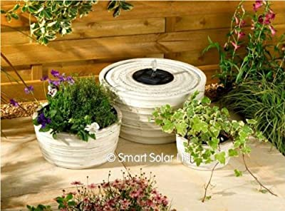 Small Solar Powered Water Feature Antique White Finish Fountain and Planter Set PC200