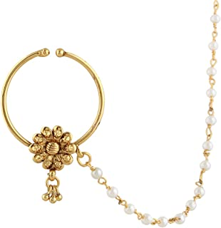 ADIVA Bridal Jewelry Set Pierced Nose Ring Nathni with ChainSANO0009WH