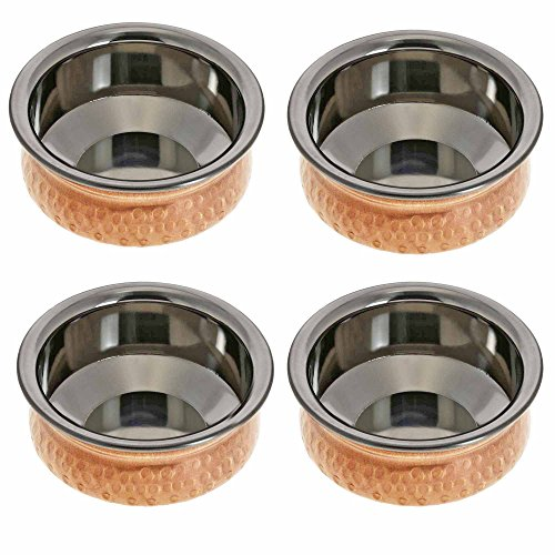 4 Inches Handmade Indian Copper Bowls - Set of 4 Dinnerware Bowls - Stainless Steel Lining - Each 200mL Capacity