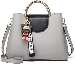 TWTAI Simple Multi-Function Large-Capacity Shoulder Bag Shoulder Slung Leather Handbag (Color : Gray)