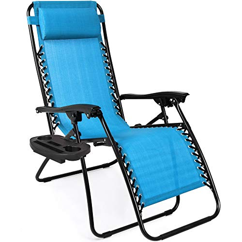 Best Choice Products Set of 2 Adjustable Zero Gravity Lounge Chair Recliners for Patio, Pool w/Cup Holders - Light Blue