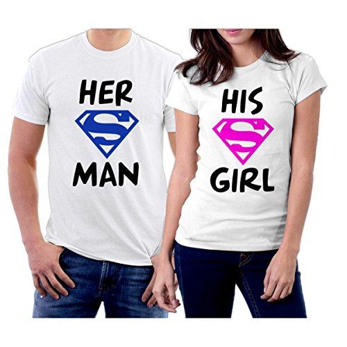 Matching Her Superman His Supergirl Couple T-Shirts Men M/Women XL White