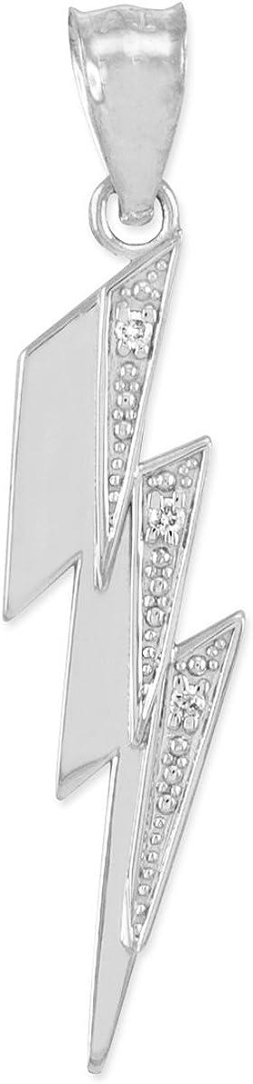 Polished 10k White Gold Diamond Lightning Bolt Charm Pendant
