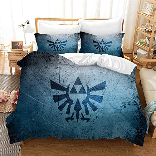 SA&NOELY The Legend of Zelda Bed Linen Set - Duvet Cover and Two Pillow Cases Microfibre 2D Digital Print 3-Piece Set, 06, Single 135 * 200cm