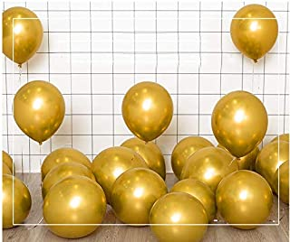Chrome Gold Balloons, 12 inch 50pcs Metallic Latex Balloons