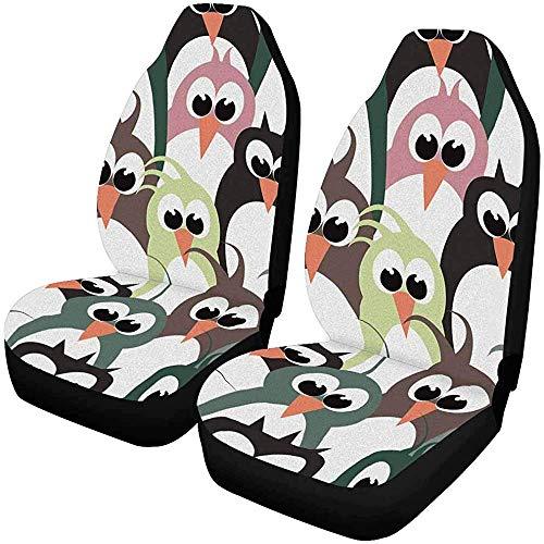 2 stuks aan de hand van leuke kleurrijke pinguïn-autostoelhoezen voor de voorkant, autostoelbeschermer, geschikt voor de meeste auto's, vrachtwagens, SUV's, van