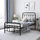 Metal Bed Frame Twin Size with Headboard and Footboard, Sturdy Heavy Duty Steel Slat Support Mattress Foundation, No Box Spring Needed,Black