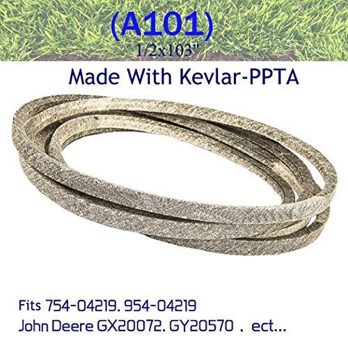 "Correa de segadora Kevlar para 754-04219, 954-04219 John Deere GX20072, GY20570 1 / 2x103""(A101)"