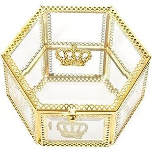 PuTwo Jewellery Box Makeup Organiser for women girls Handmade Brass Edge Vintage Mirrored Glass Hexagonal Jewellery Organiser for Necklace Bracelets Rings Planter Terrarium Wedding Gift:Donald-trump