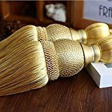 SWTOOL Selling Wonderful Curtain Holdbacks Curtains Tiebacks Home Decorative Braided Buckle Fastener Accessories Window Drapery Ball Tassels Tiebacks, Set of 2(Gold)