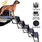 by Unbranded Upgraded Dog Stairs, Metal Frame Foldable Large Dog Step, Lightweight Portable Pet Ladder Ramp for Cars, SUVs and High Bed, 5 Steps
