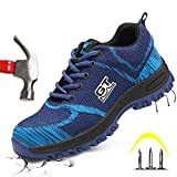 Pxyaz Calzado de Seguridad para Hombre con Punta de Acero y Entresuela de Kevlar, Zapatillas de Seguridad en el Trabajo ultraligeras y Transpirables a Prueba de pinchazos,Azul,42