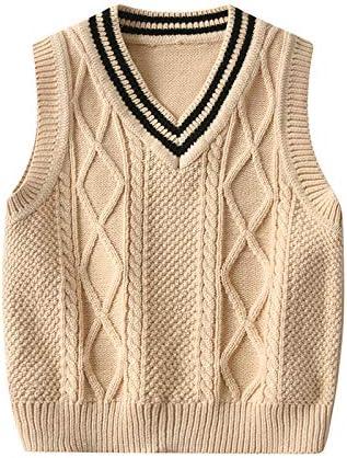 WALLARENEAR Toddler Boy V Neck Cable Sweater Vest Unisex Baby Sleeveless Argyle Sweater Baby product image