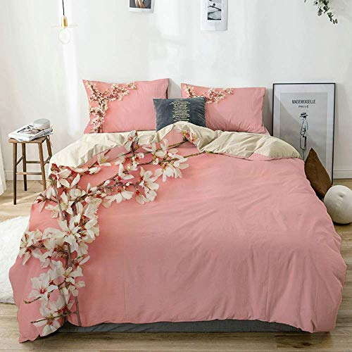 Duvet Cover Set Beige,Spring Cherry Blossom Tree on Pink Background Pastel Japanese Design,Decorative 3 Piece Bedding Set with 2 Pillow Shams Easy Care Anti-Allergic Soft Smooth
