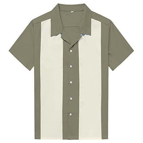 9dfb3e57b4a1 Anchor MSJ Men's 50s Male Clothing Cotton Men Shirts Short Sleeve Vintage  Fifties Bowling Casual Button
