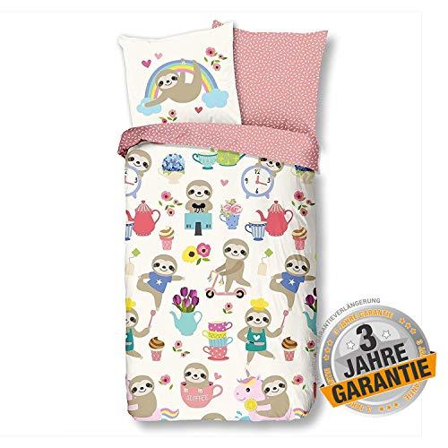Aminata Kids - süße Wende-Bettwäsche-Set Faultier-Motiv 135-x-200-cm Mädchen, Damen & Jugendliche - Baumwolle - rosa, bunt - Baumwolle, Reissverschluß - relaxen, witzig Kinder-Bettwäsche, Slot
