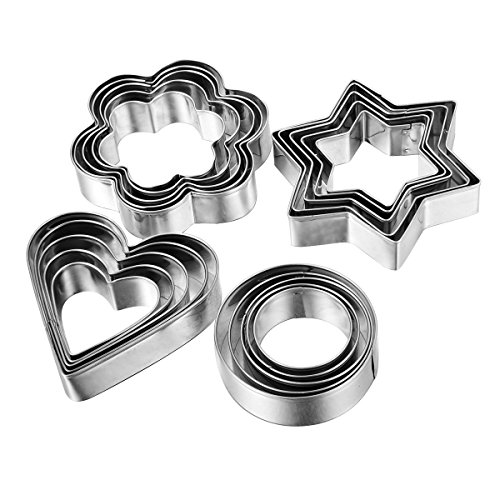 Home Value 12pc Metal Cookie Cutters: 3 Stars Shape, 3 Flowers Shape, 3 Round Shape, 3 Hearts Shape