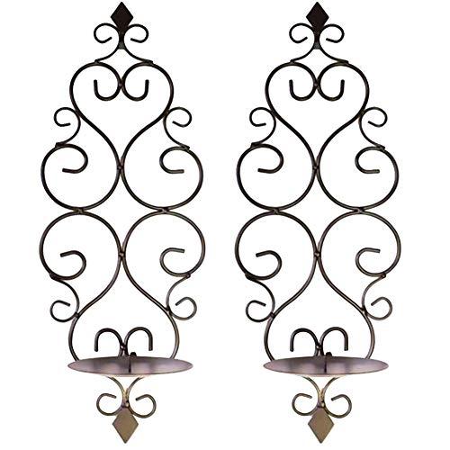 Wavel Candelabro de hierro forjado para colgar en la pared, estilo europeo, antióxido, candelabro para bodas, fiestas, decoración del hogar