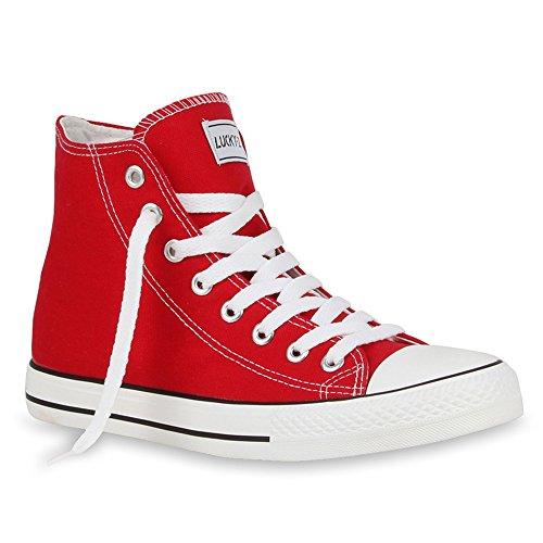 stiefelparadies Herren Schuhe High Top Sneakers Schnürer Sportschuhe 54239 Rot Ambler 44 Flandell