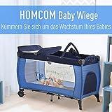 HOMCOM Kinderreisebett klappbar Reisebettmatratze Klappbett Kinder Reisebett Babybett mit Rollen Tragetasche für 0-3 Jahre Metall + Oxfordstoff Blau 120 x 60 x 78 cm - 4