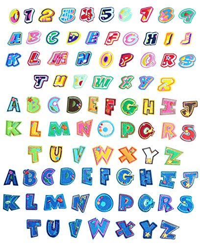 88Pieces Iron on Patches, Sew on Alphabet Embroidered Patch for Hats, Jackets, Shirts and Jeans DIY Craft Sewing Projects, 3Sets of 26 Patch Letters and 1 Sets of Number(9) Patches