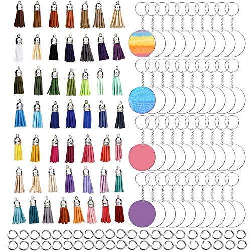 -200 piezas acrílico transparente círculo blanco llavero borlas conjunto, incluye 50pcs acrílico transparente círculo disco, 30pcs..