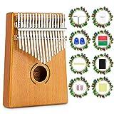 17 Teclas Kalimba, Mbira Madera Maciza Piano de Dedo, Set de Set de piano de dedo, Instrumento Musical Portátil, Pulgar Piano con Instrucciones de Estudio y Martillo de Afinación