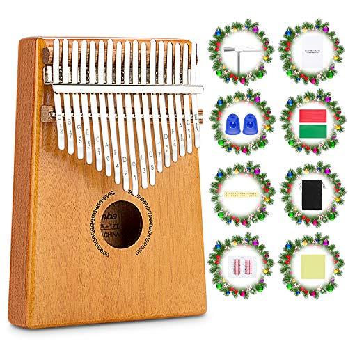 RenFox Kalimba 17 Schlüssel,DaumenKlavier Thumb Piano Finger Solide Kalimba Instrument mit Zubehör mit Lernanleitung und Stimmhammer und Stoffbeutel, Geschenk für Kinder Erwachsene Anfänger Profi