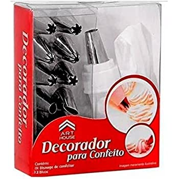 Evaluemart 12 Piece Cake Decorating Set Frosting Icing Piping Bag Tips with Steel Nozzles. Reusable & Washable