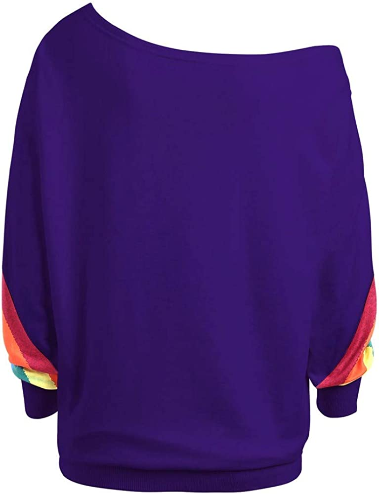 HOOUDO Sweatshirts Womens,Autumn Winter Plus Size Loose One Off-Shoulder/ Rainbow Print Pullover Jumpers Blouse Shirts Tunic Tops M-5XL