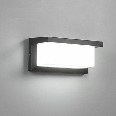 Glighone Applique Murale Extérieur Moderne LED 12W Étanche IP65 En Aluminium Anthracite Eclairage Décoration Lumière Pour Cour Jardin Terrasse Proche Mur Pathway Patio Villa Couloir Blanc Froid