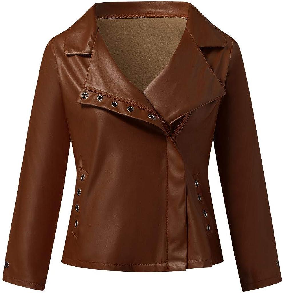 SERYU Women's Short Faux Leather Jacket Zippered Patchwork Jacket Long Sleeve Short Coat