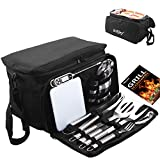 grilljoy BBQ Grill Tools Set with Black Insulated Cooler Bag - All-in-one Barbecue Picnic Cooler Bag - 12pcs Stainless Steel Camping Utensil Kit - Perfect Grilling Accessories Set Gift
