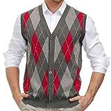 PJ PAUL JONES Mens Sweater V-Neck Vest Knit Argyle Cardigan Sweater Vest Button up Grey, M