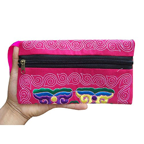 Handtasche Stickerei Damen Ethnische Handgemachte Portemonnaie Segeltuch Brieftasche Bestickte Armband Clutch Bag Vintage Geldbörse Sunday (21cm, rot)