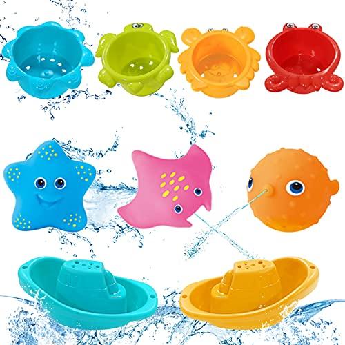 TaimeiMao 9 Stück Baby Badespielzeug,Badewannenspielzeug Kinder,Baby Bade Spielzeug,Badewannenspielzeug,Badewanne Uhrwerk Spielzeug,Badespielzeug für Kleinkinder,Spielzeug Badewanne