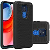 Moto G Play 2021 Case, Motorola G Play 2021 Case with HD Screen Protector,Giner Dual Layer Military-Grade Armor Defender Protective Phone Case Cover for Motorola Moto G Play 2021 (Black Armor)