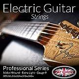 Adagio Pro ELECTRIC GUITAR Cordes – Calibre 9 – Nickel extra léger 9-42 Lot de 2 embouts à billes .009 – .042
