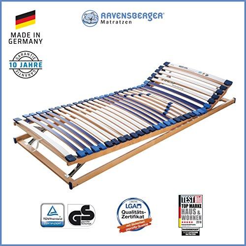 RAVENSBERGER MATRATZEN Lattenrost Spezial (Medi XXL) VARIABEL 5-Zonen-30-Leisten-BUCHE- Schwergewichtsrahmen | Verstellbar | MADE IN GERMANY - 10 JAHRE GARANTIE | TÜV/GS + Blauer Engel - zertifiziert | 90 x 200 cm