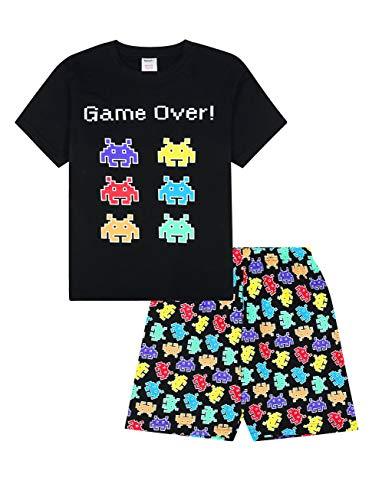 Game Over Space Invaders - Pijama corto de algodón, color negro Negro Negro ( 11-12 Años