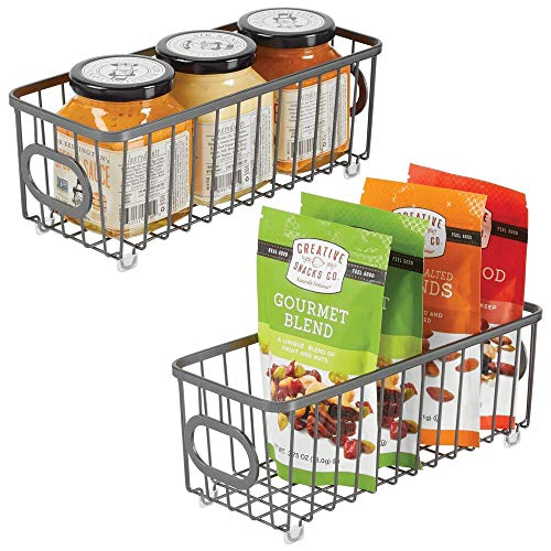 mDesign Metal Farmhouse Kitchen Pantry Food Storage Organizer Basket Bin - Wire Grid Design - for Cabinets, Cupboards, Shelves, Countertops, Closets, Bedroom, Bathroom - Small, 2 Pack - Graphite Gray