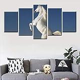 DGGDVP 5 Panel Modular HD Print Animal Tall White Horse Canvas Poster para Sala de Estar Dormitorio ...