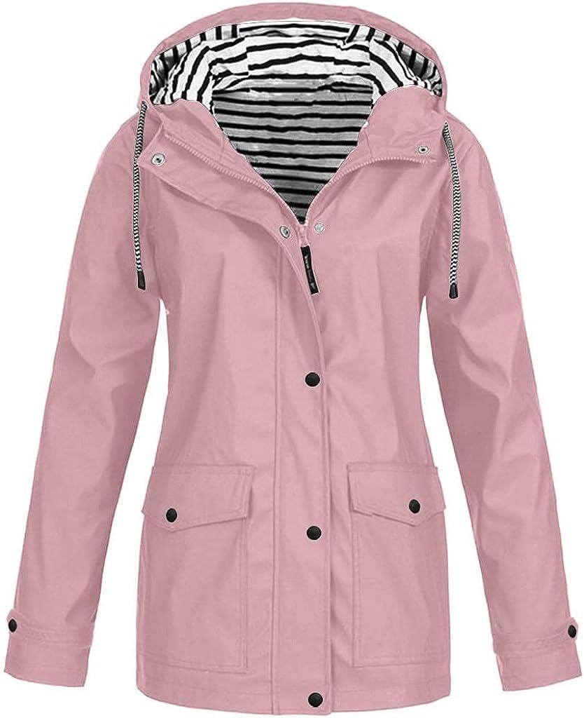 Sweatshirts for Women Hoodie Drawstring Solid Color Raincoat Outdoor Plus Size Waterproof Hooded Windproof Jacket Coat