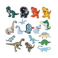 Leiasnow 恐竜 ワッペン 17個入 アイロン アップリケアイロンワッペンパッチ きょうりゅう 刺繍ワッペン 保育園 飾り (恐竜17個)