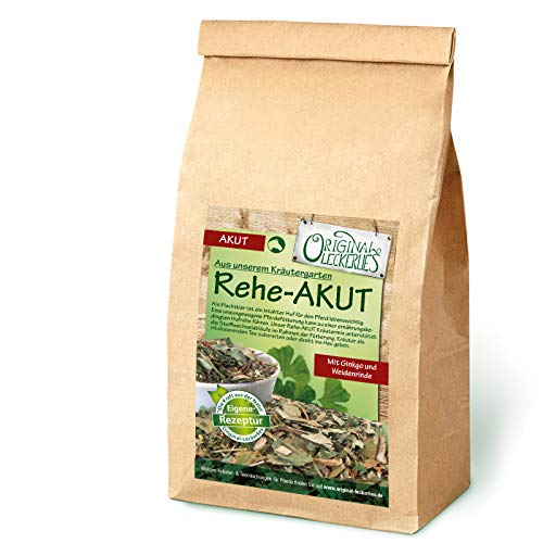 Original-Leckerlies: Rehe-AKUT-Kräutermix, 500g Pferdekräuter, Kräuter für Pferde, Pferdefutter, Futterergänzung, Naturprodukt für Pferde